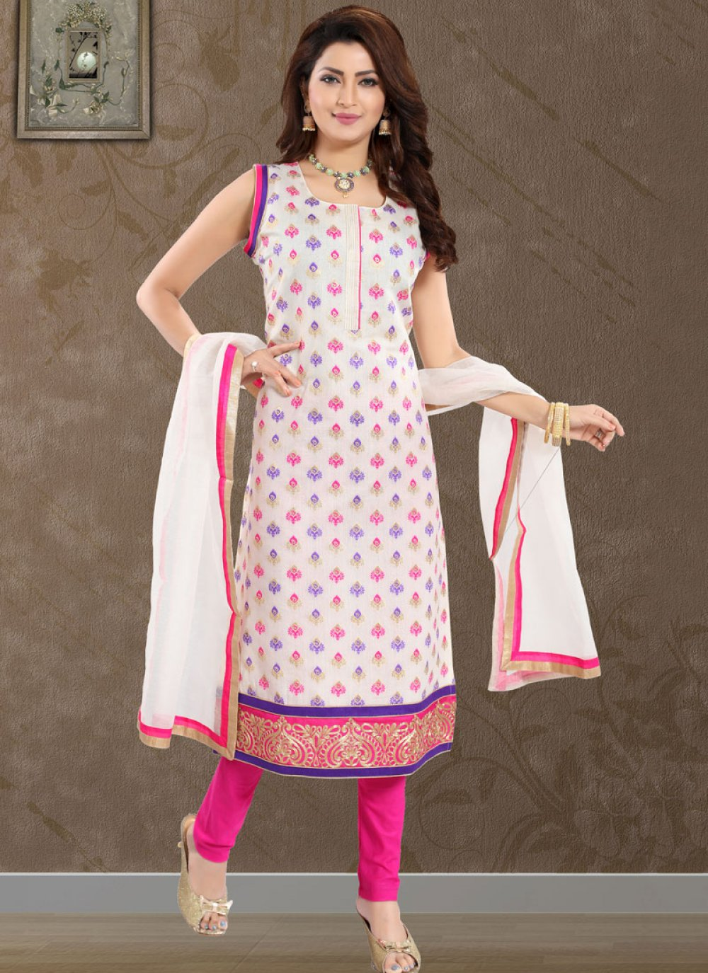 White Fancy Fabric Churidar Designer Suit