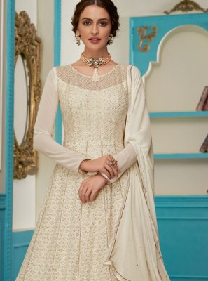 White Faux Georgette Floor Length Anarkali Suit