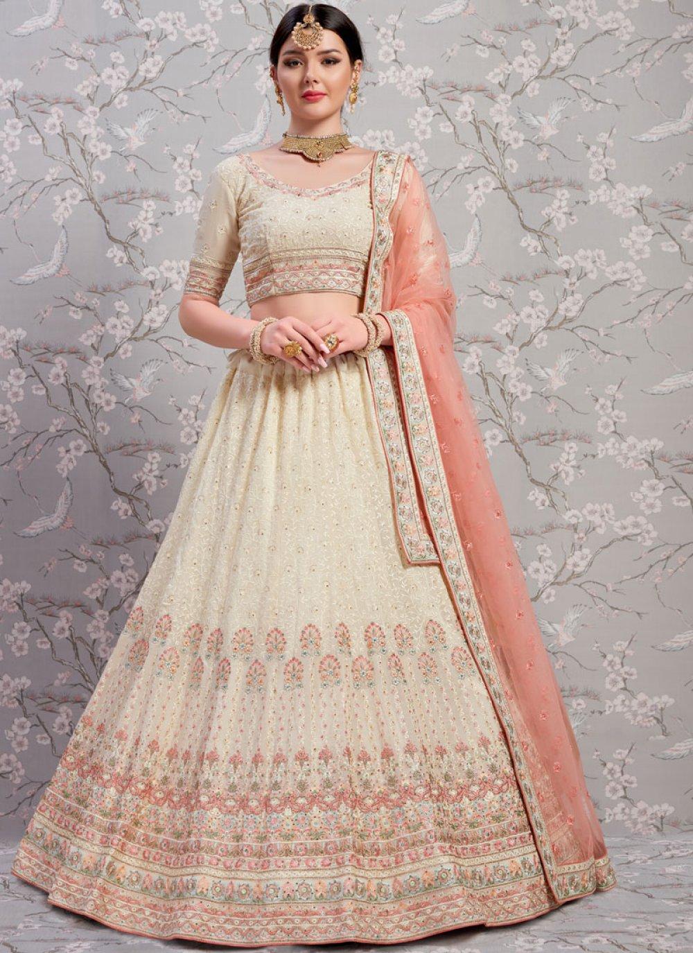 White Faux Georgette Wedding Lehenga Choli