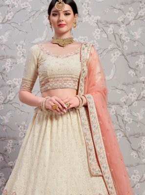 White Faux Georgette Wedding Lehenga Choli