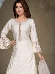 White Festival Art Silk Readymade Suit