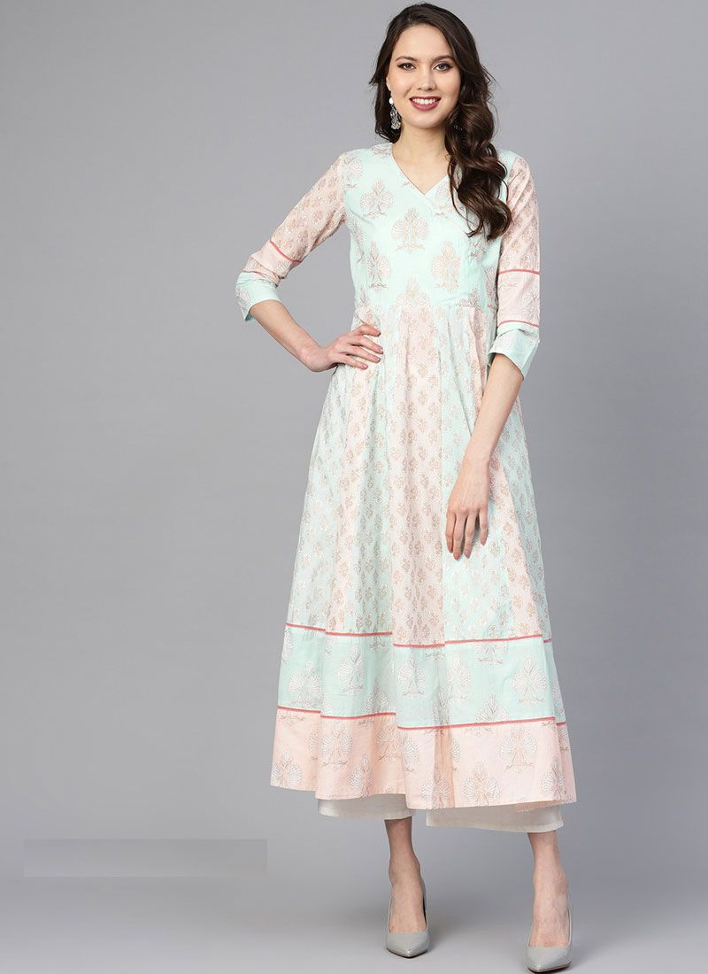 White Festival Cotton Party Wear Kurti