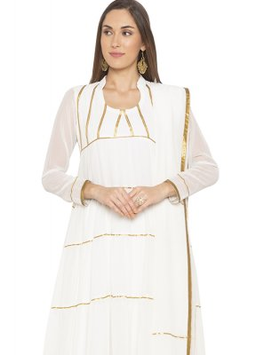 White Georgette Designer Salwar Kameez