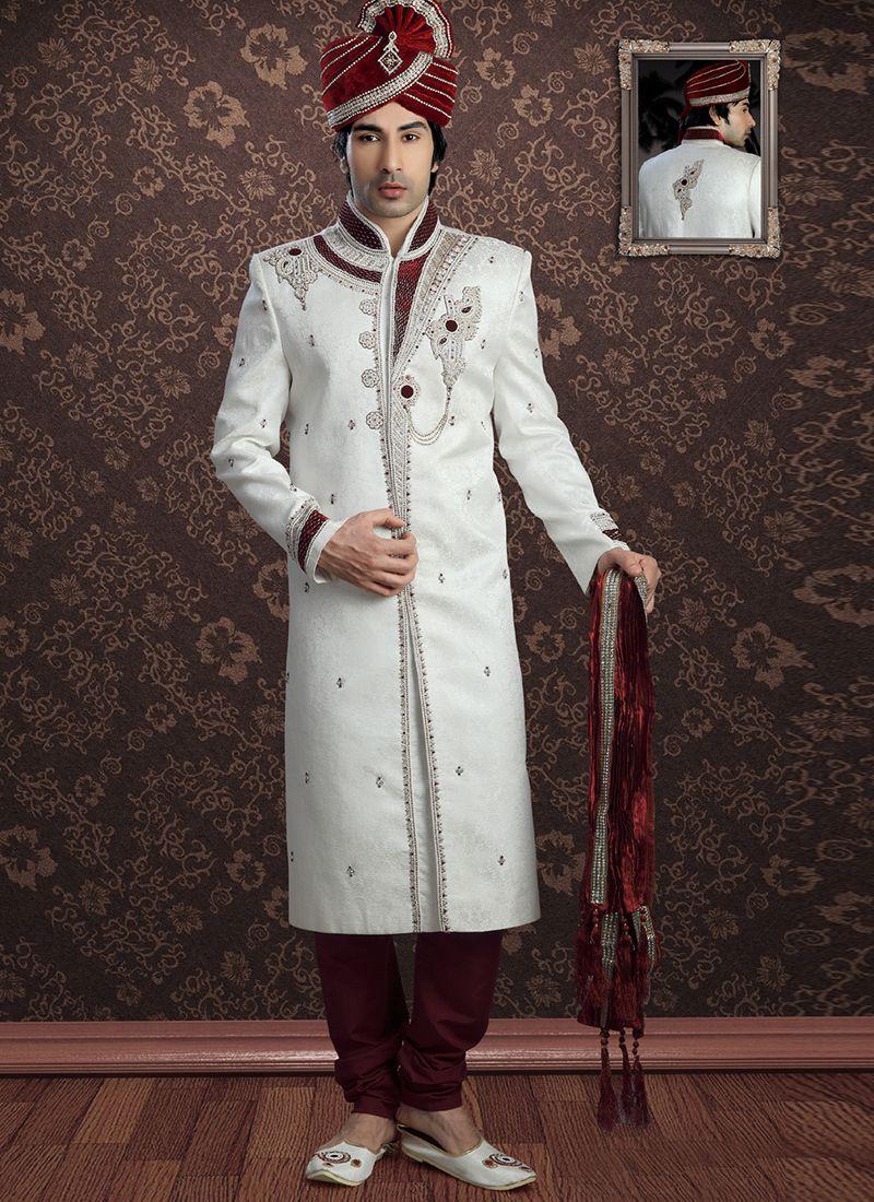 White Jacquard Embroidered Sherwani