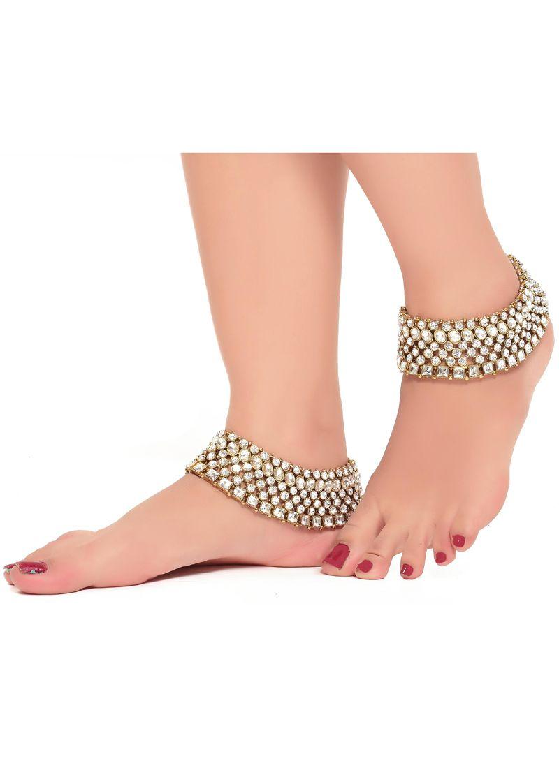 White Kundan Anklet