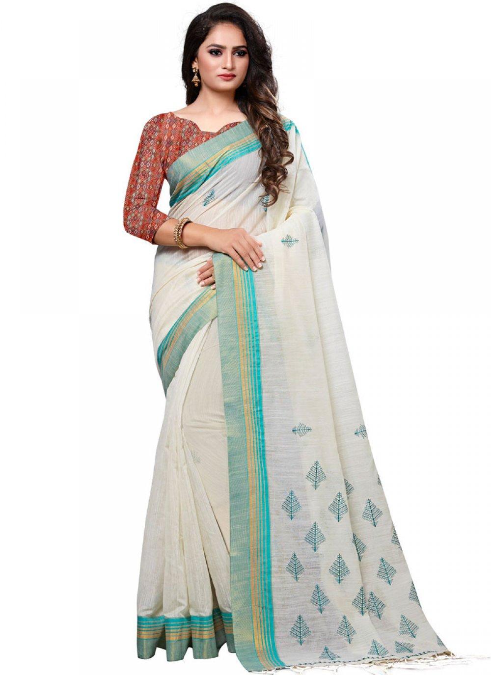 White Mehndi Designer Traditional Saree