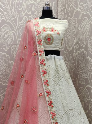White Patch Border Faux Georgette Lehenga Choli