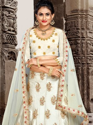 White Patch Border Lehenga Choli