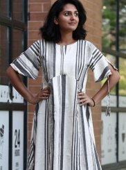 White Plain Khadi Party Wear Kurti