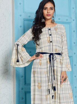 White Print Party Wear Kurti
