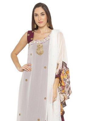 White Printed Georgette Designer Salwar Kameez
