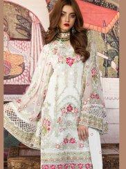 White Resham Designer Pakistani Suit