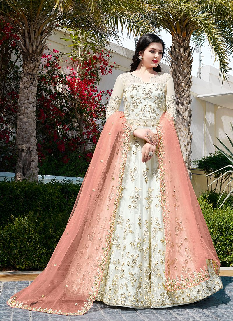 White Resham Net Floor Length Anarkali Suit