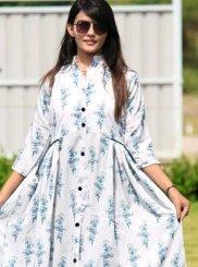 White Silk Ceremonial Trendy Gown