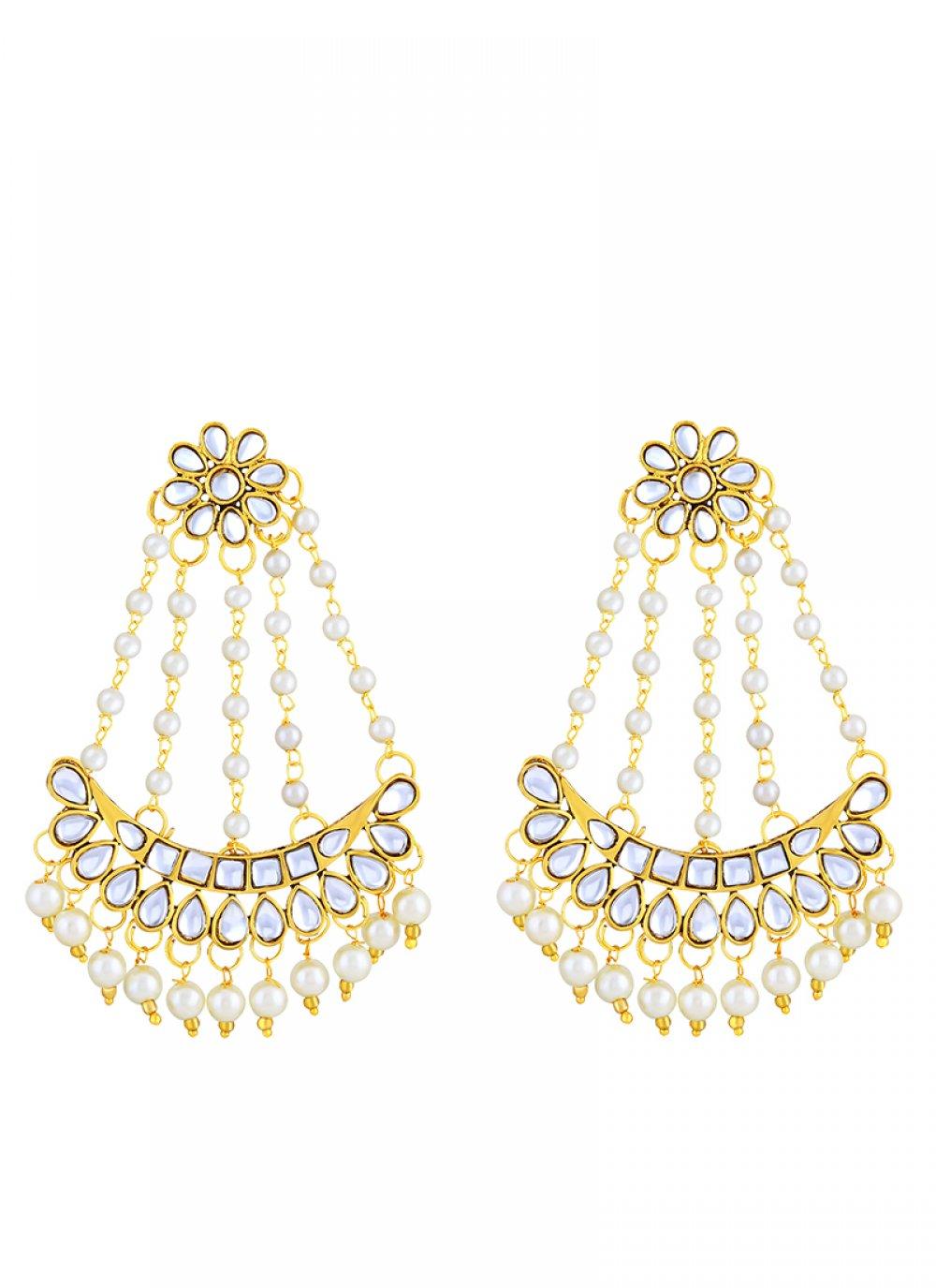 White Stone Ear Rings