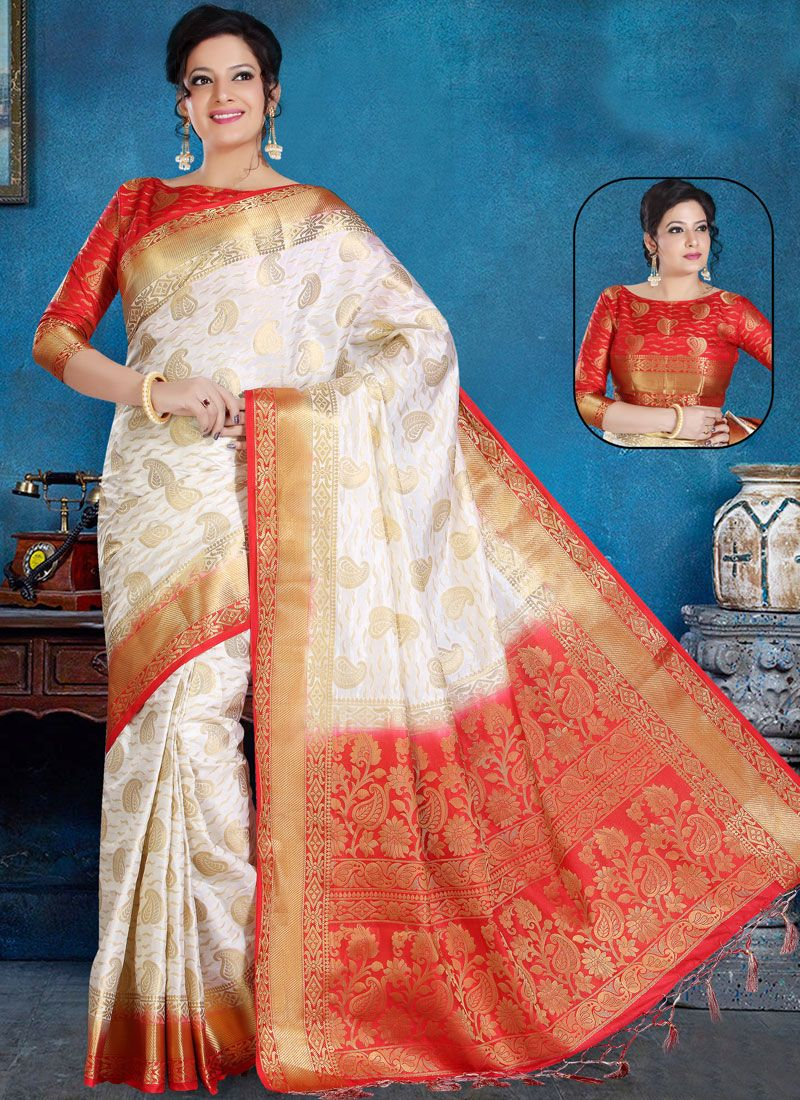 b4804848d5f42 Buy White Weaving Art Silk Traditional Saree Online   98453 -