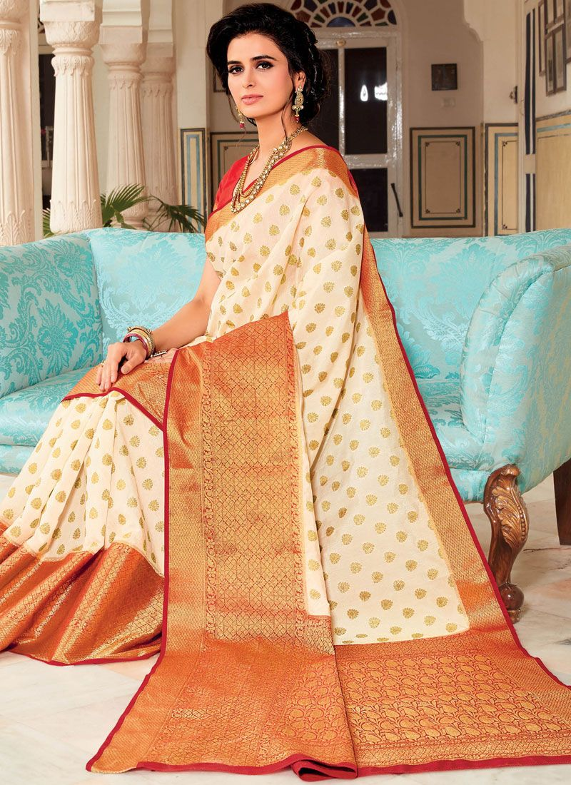 White Weaving Satin Silk Designer Traditional Saree