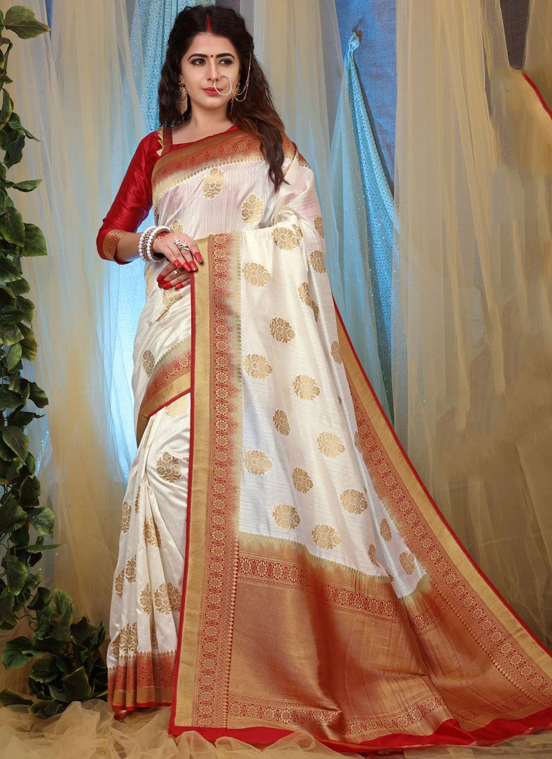 White Weaving Traditional Saree