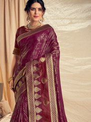 Wine Applique Net Traditional Saree