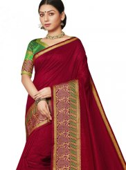Wine Art Silk Designer Saree