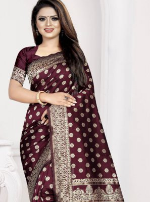 Wine Art Silk Traditional Saree