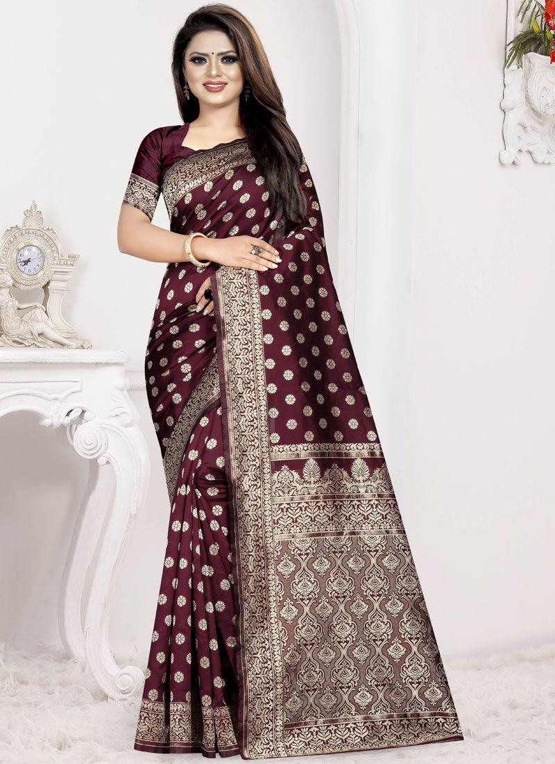 Wine Art Silk Traditional Saree