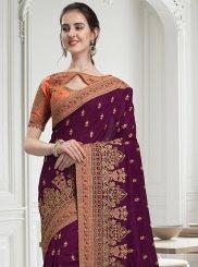 Wine Bridal Fancy Fabric Classic Designer Saree