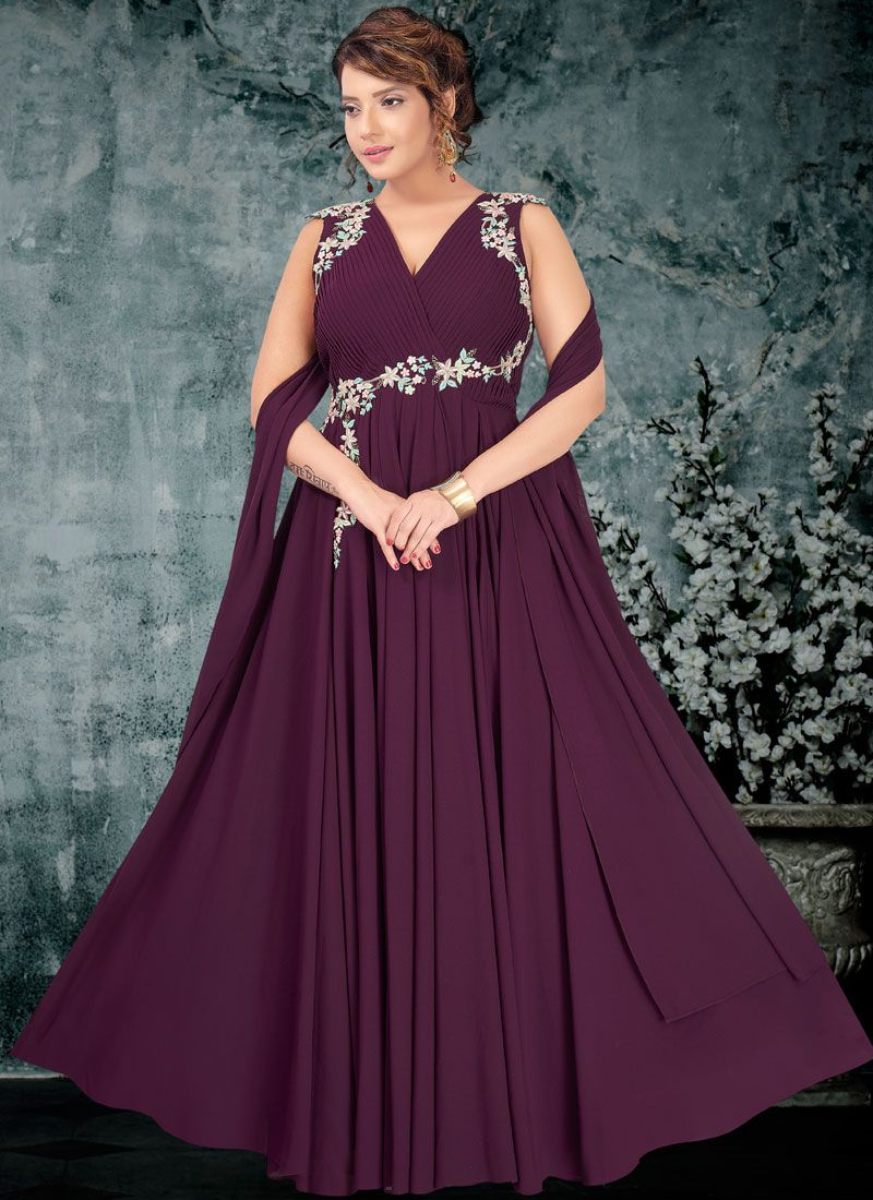 Wine Bridal Faux Georgette Readymade Trendy Gown