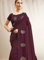 Wine Chanderi Print Traditional Saree
