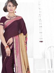 Wine Color Printed Saree