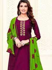 Wine Cotton Casual Churidar Salwar Suit