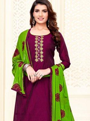 Wine Cotton Casual Churidar Salwar Suit