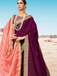 Wine Designer Saree