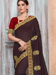 Wine Embroidered Art Silk Designer Traditional Saree