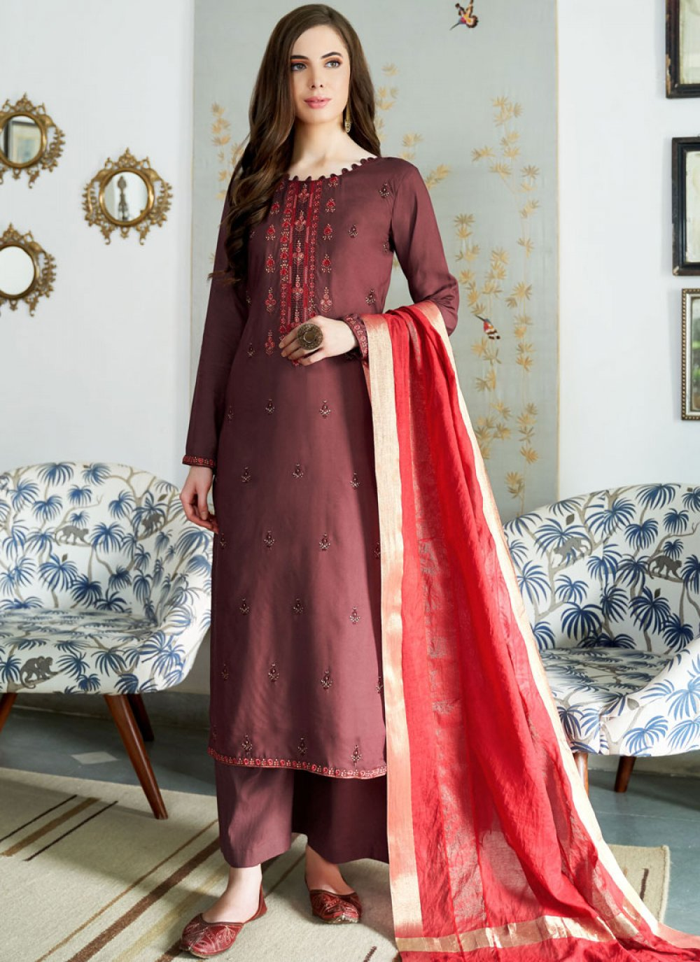 Wine Embroidered Designer Palazzo Suit