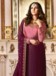Wine Embroidered Designer Straight Salwar Suit