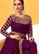 Wine Embroidered Festival Pant Style Suit