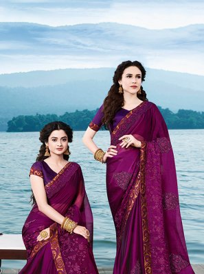 Wine Embroidered Party Casual Saree