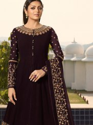 Wine Embroidered Party Desinger Anarkali Suit