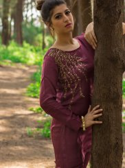 Wine Embroidered Party Wear Kurti