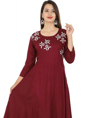 Wine Embroidered Rayon Party Wear Kurti