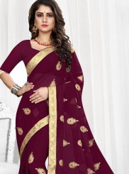 Wine Faux Georgette Classic Saree