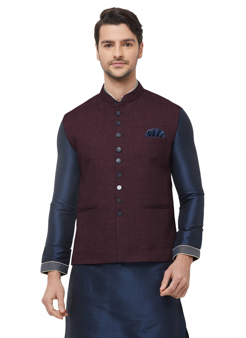 Wine Jute Plain Nehru Jackets