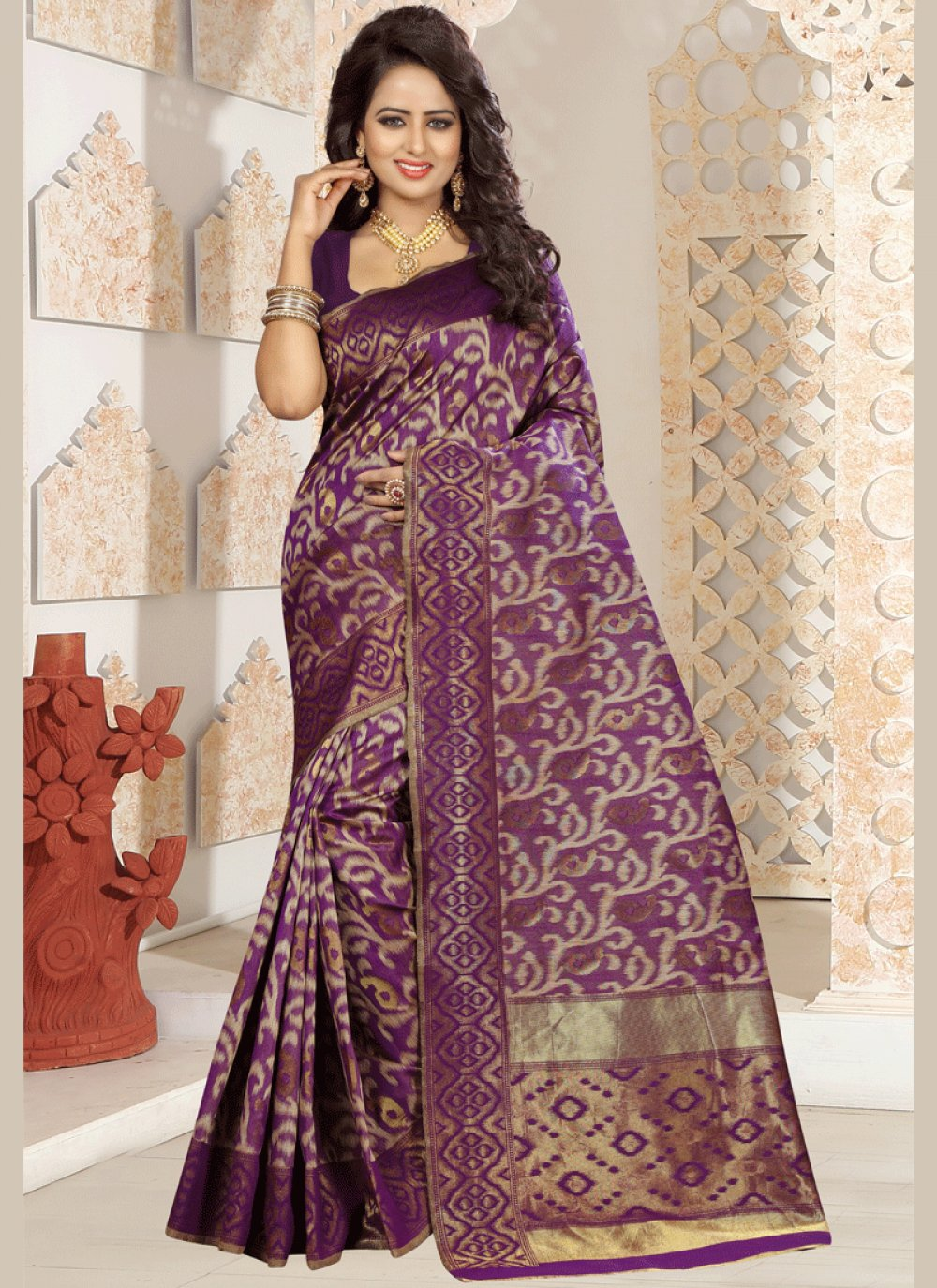 Wine Kanchipuram silk Traditional Designer Saree