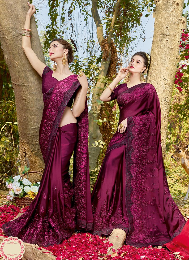 Wine Patch Border Classic Designer Saree