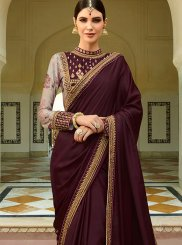 Wine Patch Border Designer Traditional Saree