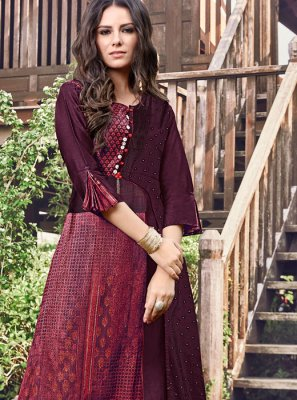 Wine Print Party Wear Kurti