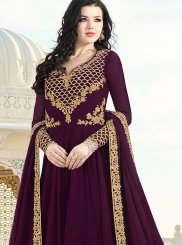 Wine Resham Faux Georgette Floor Length Anarkali Suit