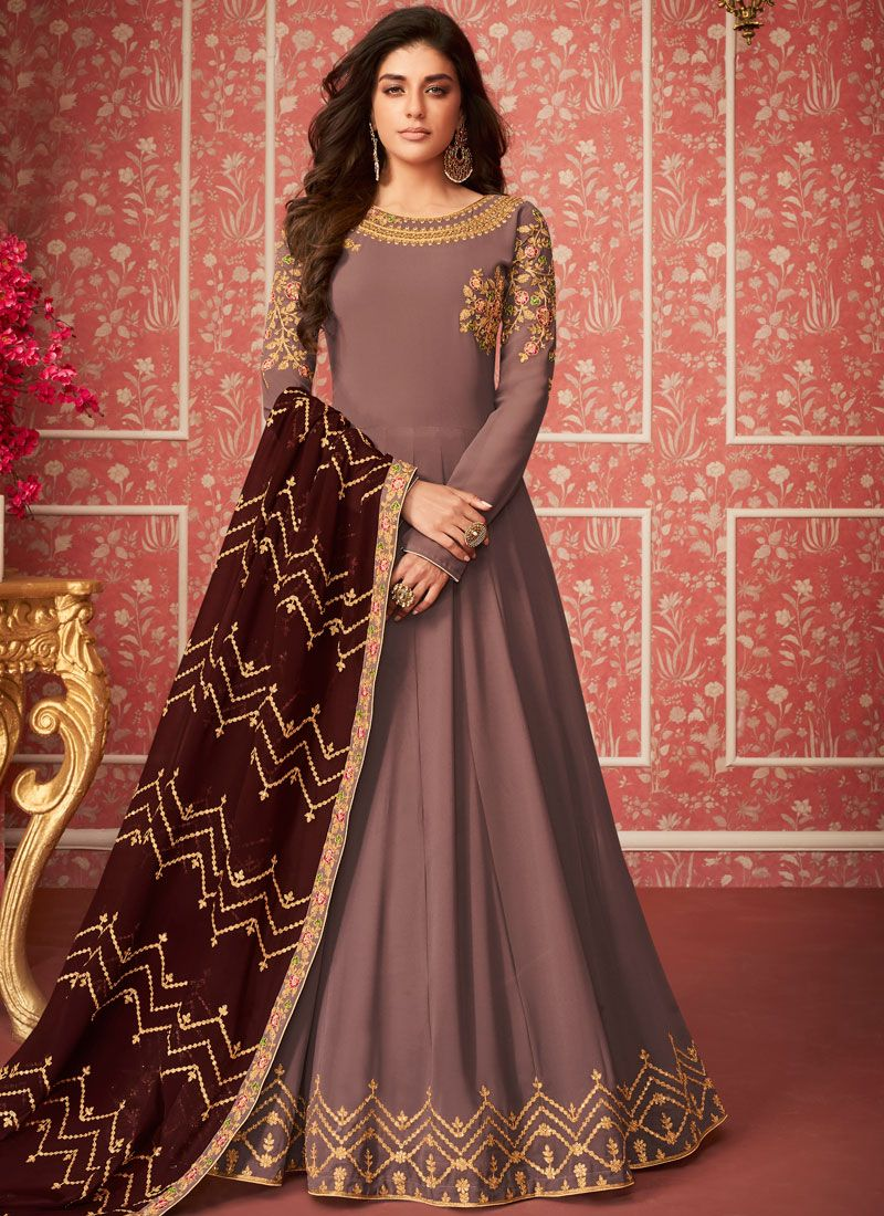 Wine Wedding Anarkali Salwar Suit