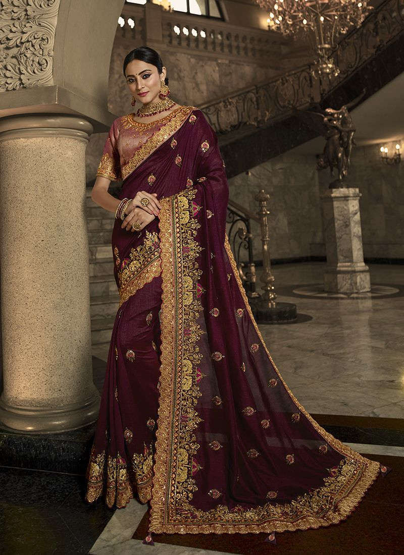 Wine Wedding Traditional Designer Saree